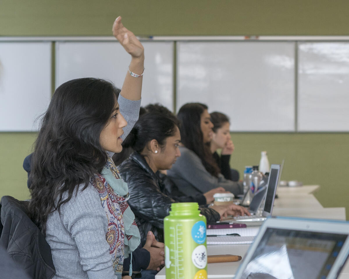 Photo of student raising hand